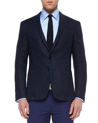 Nigel Textured Houndstooth Sport Coat, Navy/Gray