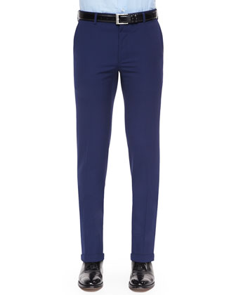 Anthony Flat-Front Wool Pants, Navy