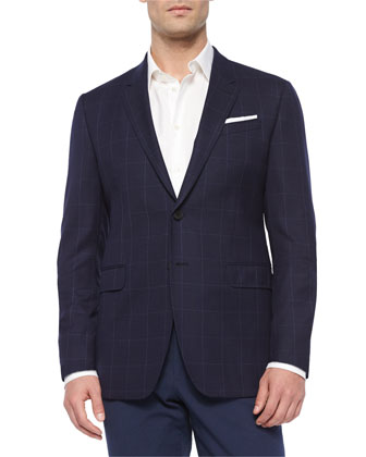 Two-Button Hopsack Wool Sport Coat, Navy