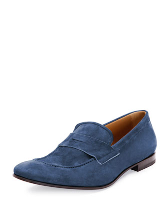 Suede Penny Loafer, Blue