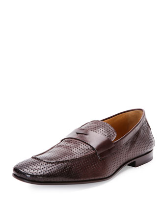 Woven Leather Penny Loafer, Dark Brown