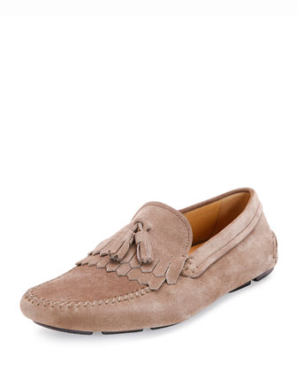 Suede Kiltie Driver, Brown