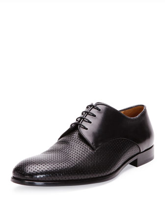 Woven Leather Dress Shoe, Nero
