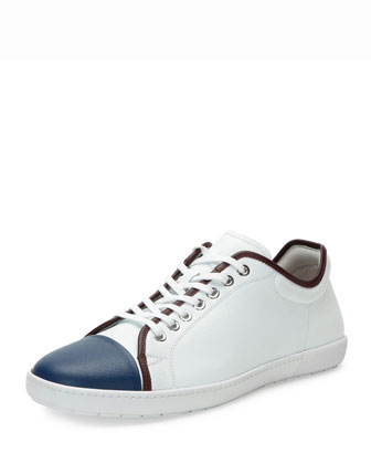 New Leather Tennis Sneaker, White/Blue