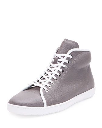 New Leather High-Top Tennis Sneaker, Gray