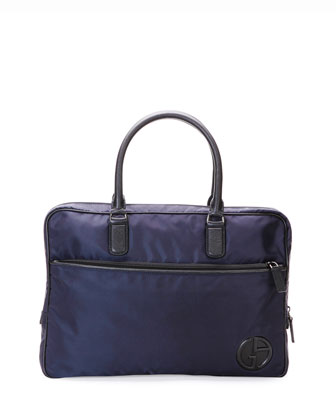 Nylon Briefcase with Leather Trim, Blue