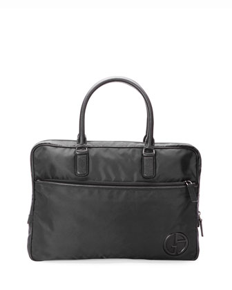 Nylon Briefcase with Leather Trim, Black