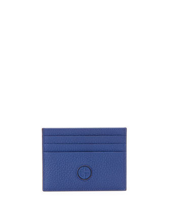 Leather Credit Card Case, Blue