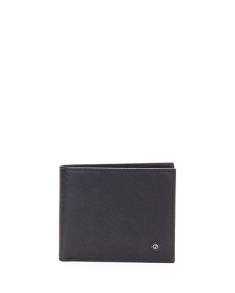 Stamped Saffiano Leather Wallet, Black