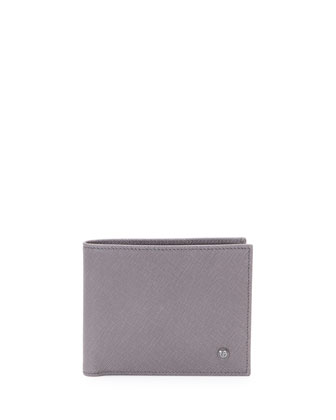 Stamped Saffiano Leather Wallet, Pewter