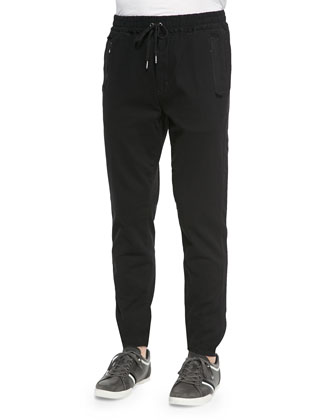 Twill Jogger Pants, Black