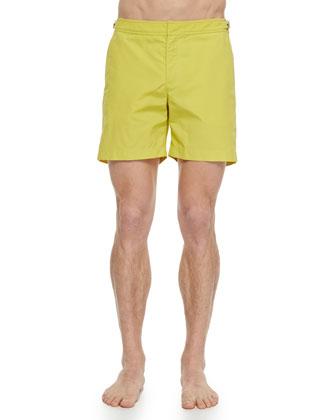 Felix Mallard Johnny-Collar Polo & Bulldog Mid-Length Solid Swim Trunks