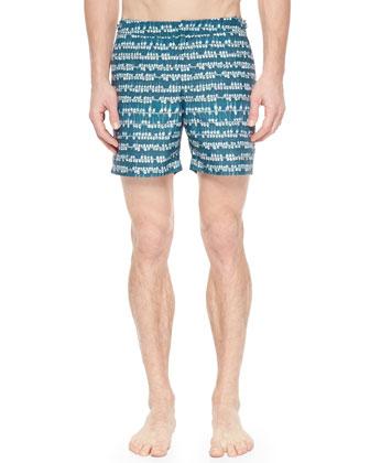Pique-Knit Johnny Collar Polo Shirt & Bulldog Sailboat-Print Swim Trunks