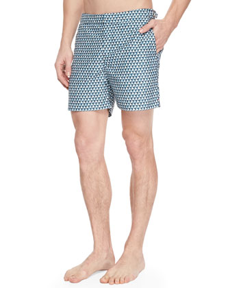 Felix Johnny-Collar Polo & Bulldog Nautilus-Print Swim Trunks