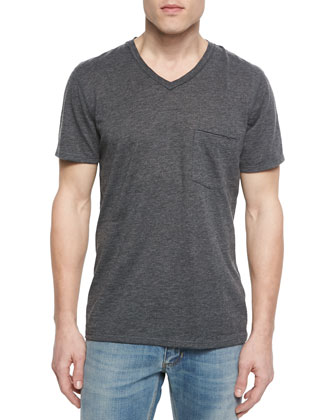 Short-Sleeve V-Neck T-Shirt, Charcoal