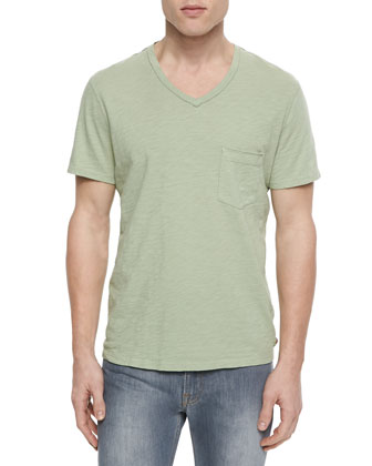 Raw-Edge V-Neck T-Shirt, Green