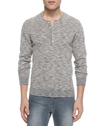 Striped Knit Long-Sleeve Henley Shirt, Gray