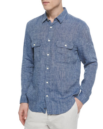 Linen Double-Pocket Sport Shirt, Blue