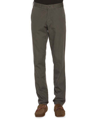 Flat-Front Twill Pants, Army