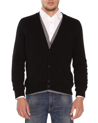 Cashmere Double-Layer Cardigan, Black