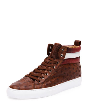 Handpainted Ostrich High-Top Sneaker, Havana