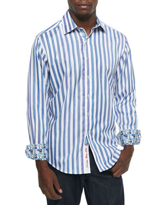 Shipwreck Classic Fit Striped Sport Shirt, White/Blue