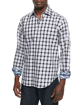 Cutter Houndstooth Plaid Sport Shirt, Black