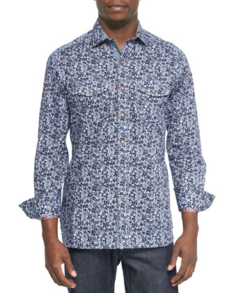 Forest Printed Sport Shirt, Indigo