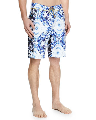 Multi Print Swim Trunks, Blue