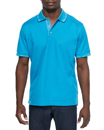 Mercerized Short-Sleeve Polo Shirt, Aqua