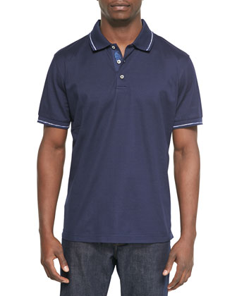 Mercerized Short-Sleeve Polo Shirt, Navy
