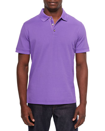 Mercerized Short-Sleeve Polo Shirt, Purple