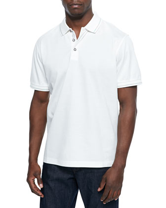 Woven Short-Sleeve Polo Shirt, White