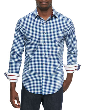 Long-Sleeve Check Sport Shirt, Navy