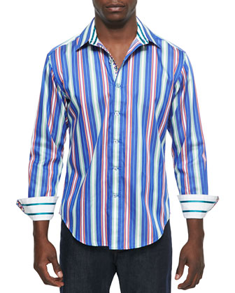 Drifter Striped Long-Sleeve Sport Shirt, Blue