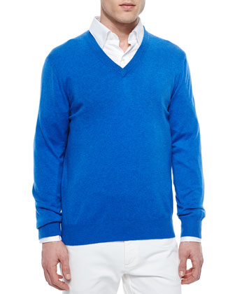 Premium Cashmere V-Neck Sweater, Caribbean Blue