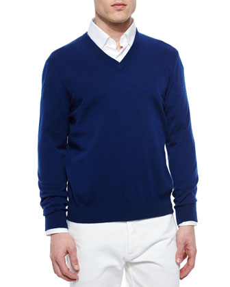 Premium Cashmere V-Neck Sweater, Navy