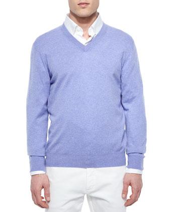 Premium Cashmere V-Neck Sweater, Lilac