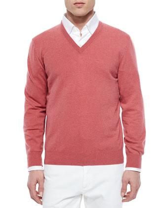 Premium Cashmere V-Neck Sweater, Coral
