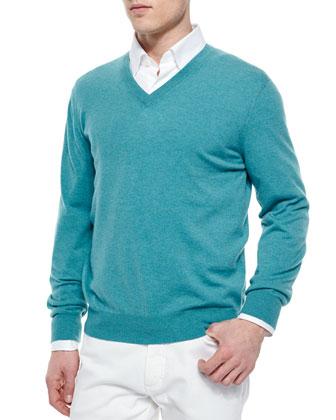 Premium Cashmere V-Neck Sweater, Aqua