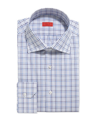 Woven Multi-Plaid Dress Shirt, Gray/Blue/Navy