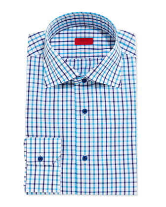 Box-Check Button-Down Shirt, Turquoise/Navy