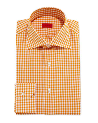 Gingham Dress Shirt, Burnt Orange