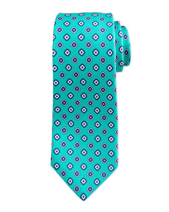 Grenadine Square Medallion Neats Tie, Teal