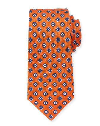 Grenadine Square Medallion Neats Tie, Orange