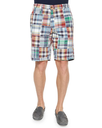 Reversible Plaid Patchwork Shorts, Navy