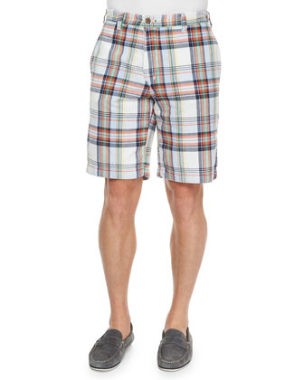 Reversible Madras Plaid Woven Shorts, Blue