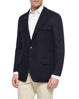 Washington Reversible Cashmere-Blend Jacket, Navy