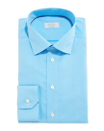 Contemporary Micro-Check Dress Shirt, Turquoise