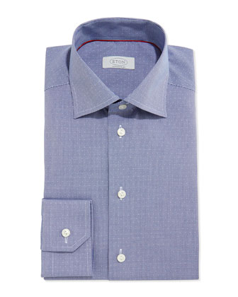 Contemporary Textured Check Dress Shirt, Navy